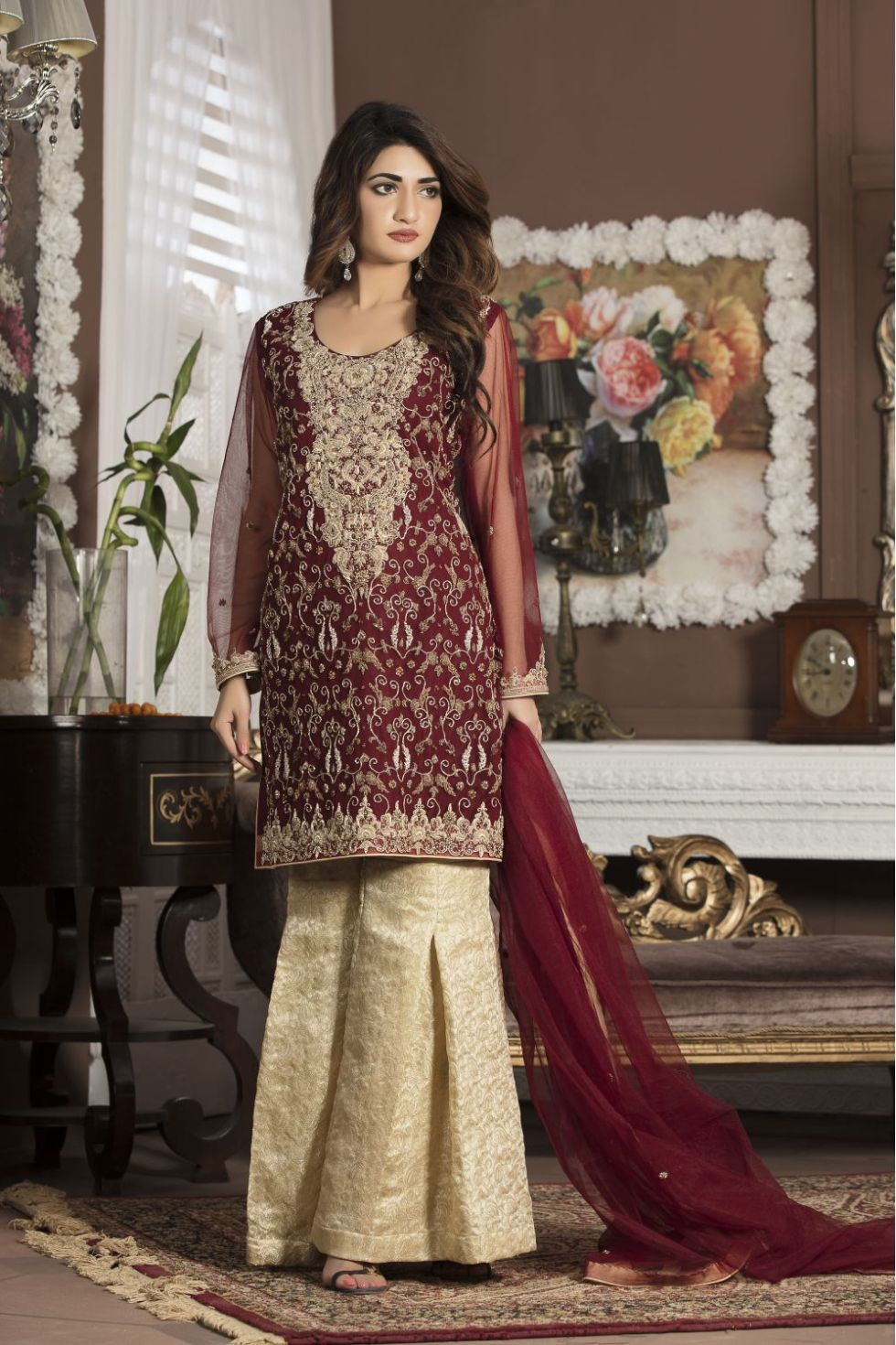 MAROON BRIDAL WEAR - G13107 - Exclusive Online Boutique