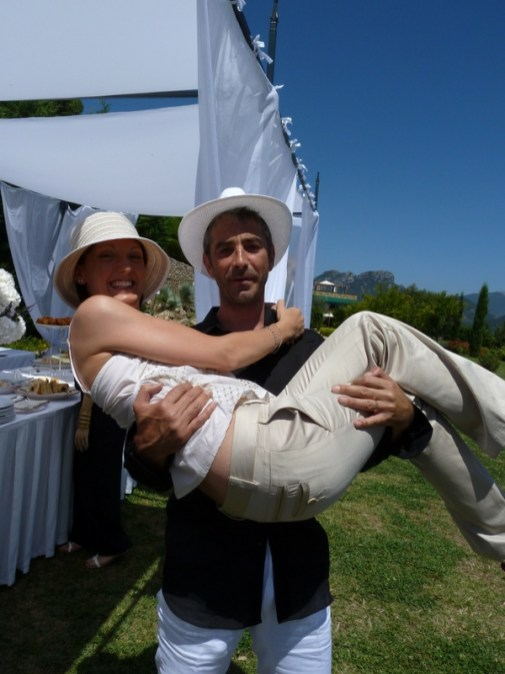 Sara and Stephane, before she was thrown into the pool
