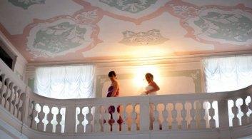 Bride and bridesmaid inside the Villa