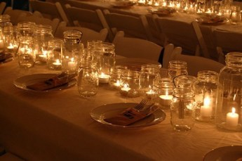 Table decorations with mason jars
