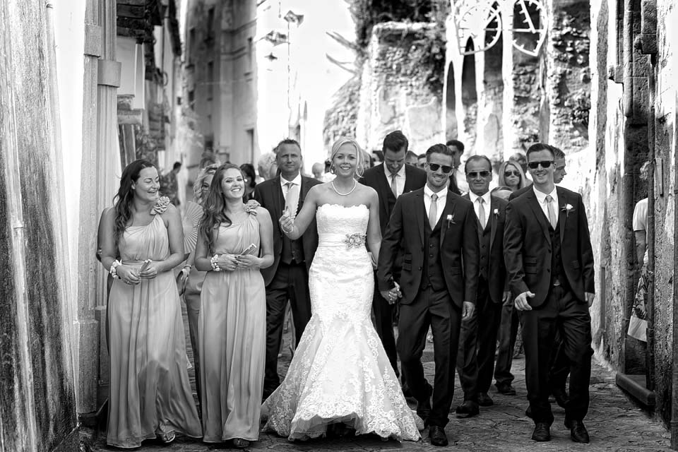 Bridal couple and friends in Ravello