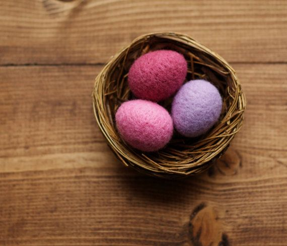 radiant orchid miniature felted eggs