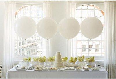 White balloons for dessert table