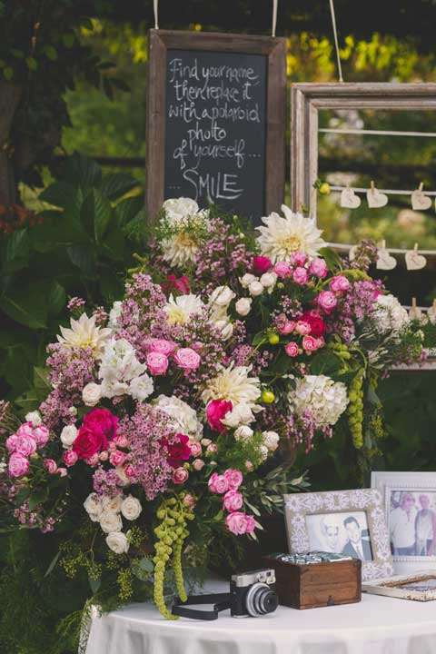 Floral decoration for guestbook table