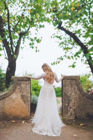 White lace bridal gown for Amalfi Coast wedding