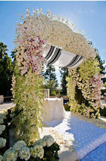 Chuppah with white orchids and pastel pink roses