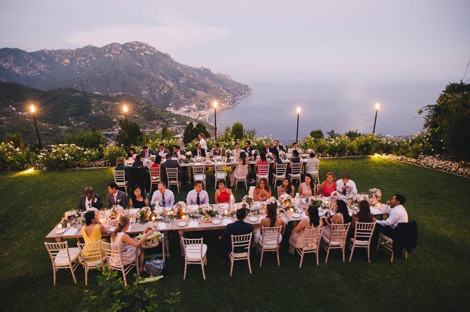 Outdoor wedding reception in Ravello