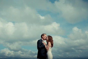 Bride and groom on the Mediterranean beach