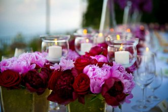 Pink and red orchids for Italian wedding banquet