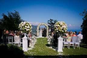 Flower arch for outdoor ceremony