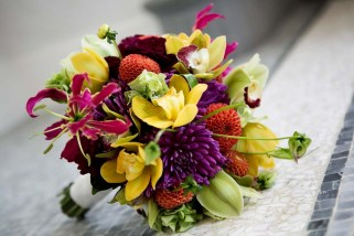Bridal bouquet in bright colors