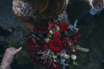 Bridal bouquet in deep red and pale pink hues
