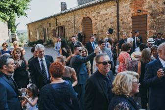Wedding guests in the courtyard of Modanella castle