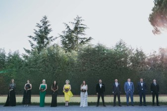 Bridal couple and friends in the Tuscan countryside