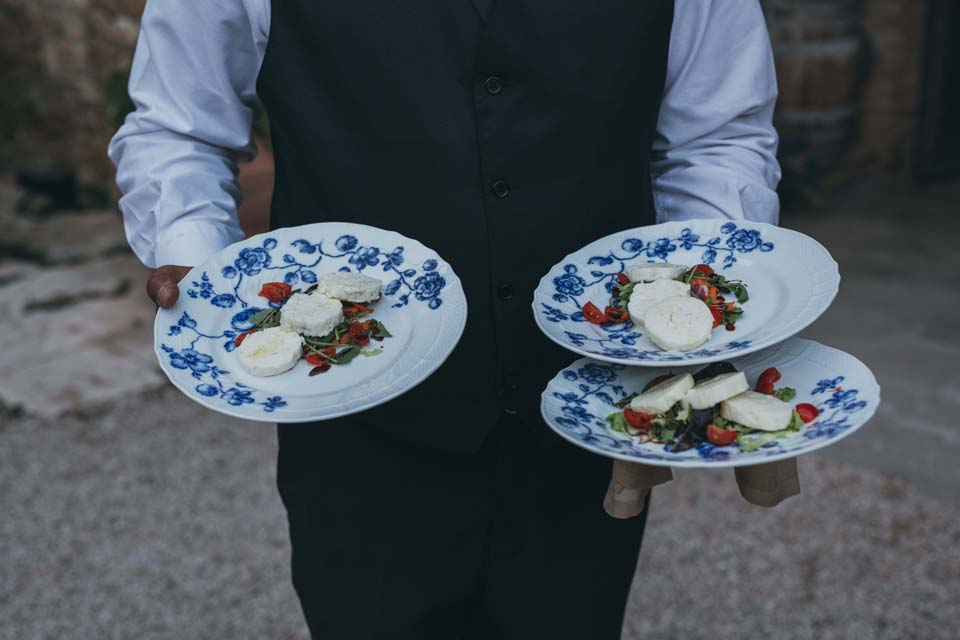 Appetizers served at a Tuscan wedding
