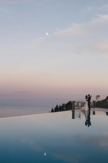 Bridal couple under the moonlight in Ravello