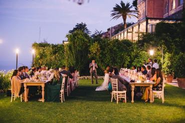 Outdoor wedding reception at Hotel Caruso
