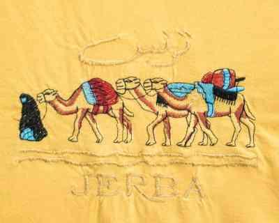 TEE SHIRT – MANCHE COURTE JAUNE BRODERIE DJERBA – Size L