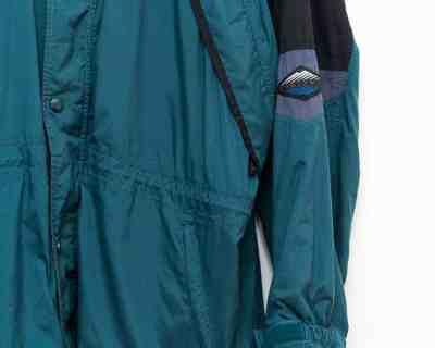 PARKA – COLUMBIA – RETRO SKI VERT SAPIN NOIR CAPUCHE RANGEABLE- Size XL