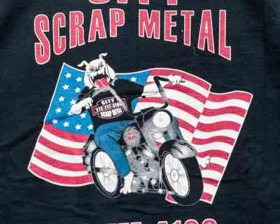 T-SHIRT – BW – CITY SCRAP METAL GARAGE HARLEY – Size L
