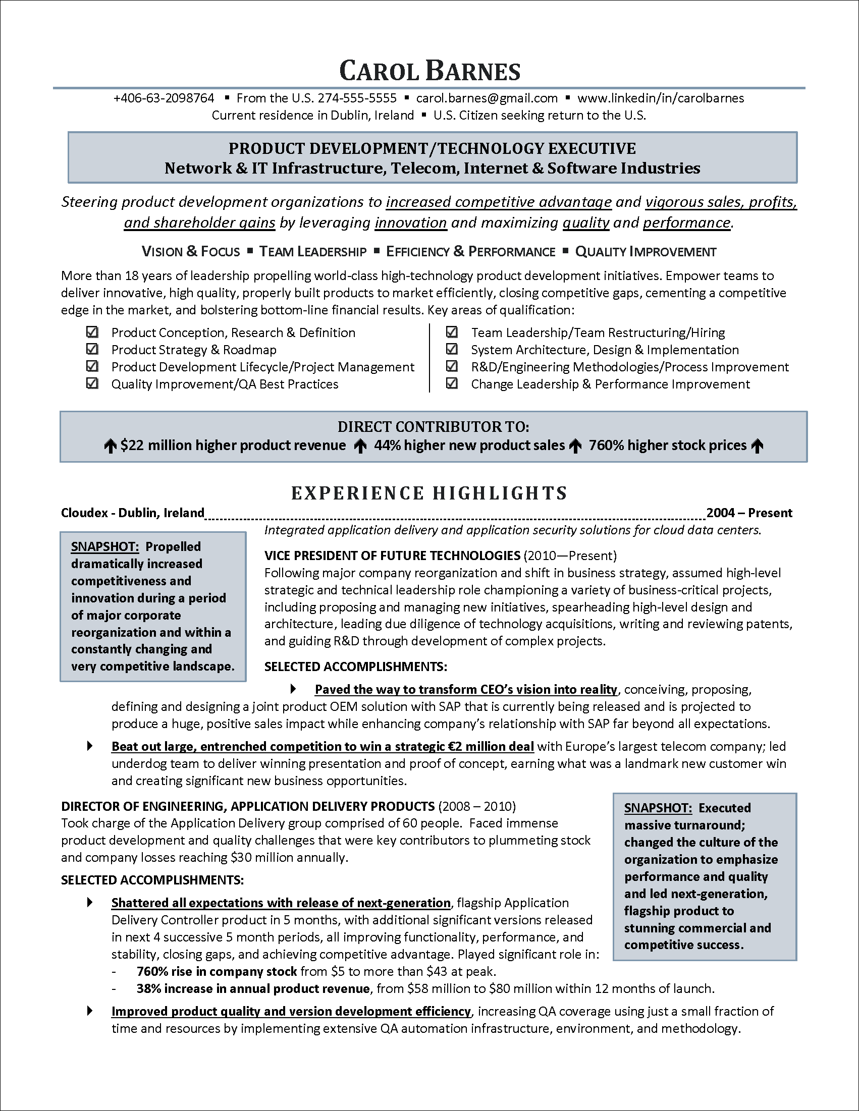 executive resume information technology page 1 png