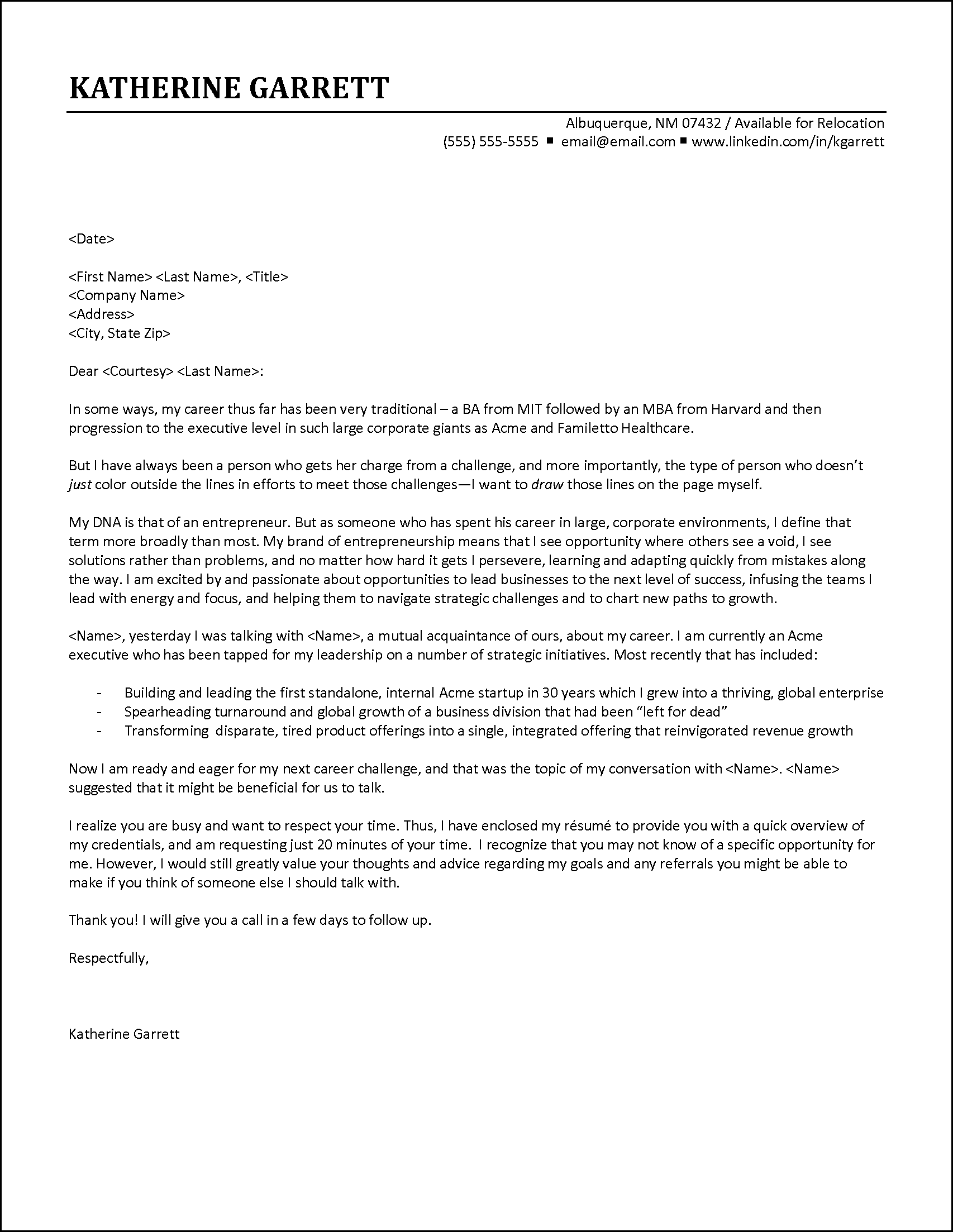 executive cover letter example contact based on referral