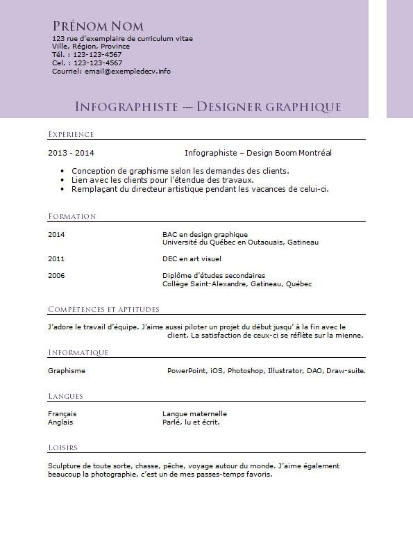 Exemple De Cv Pour Un Infographiste Et Designer Graphique Exemple De Cv Info
