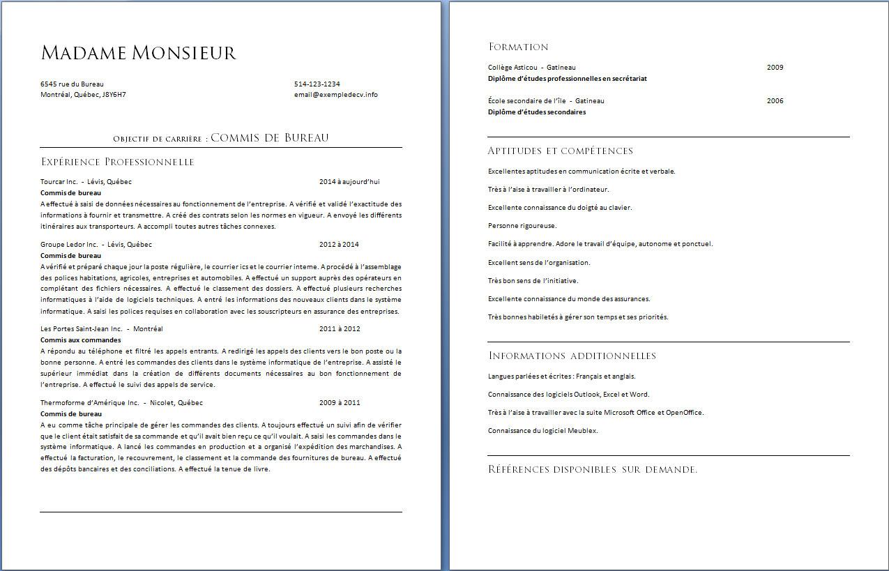 Exemple De CV Page 2 Exemple De CV Info