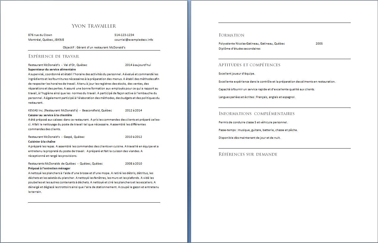 C V D Un Employe De Restaurant Mcdonald S Exemple De Cv Info