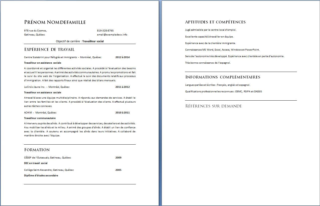 Exemple De Cv Travailleur Social Exemple De Cv Info