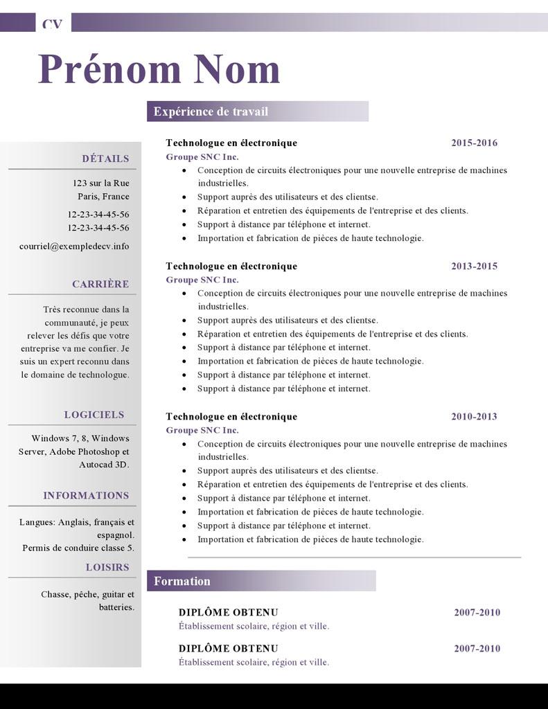 Modles De Cv Word 879 885 Exemple De CV Info