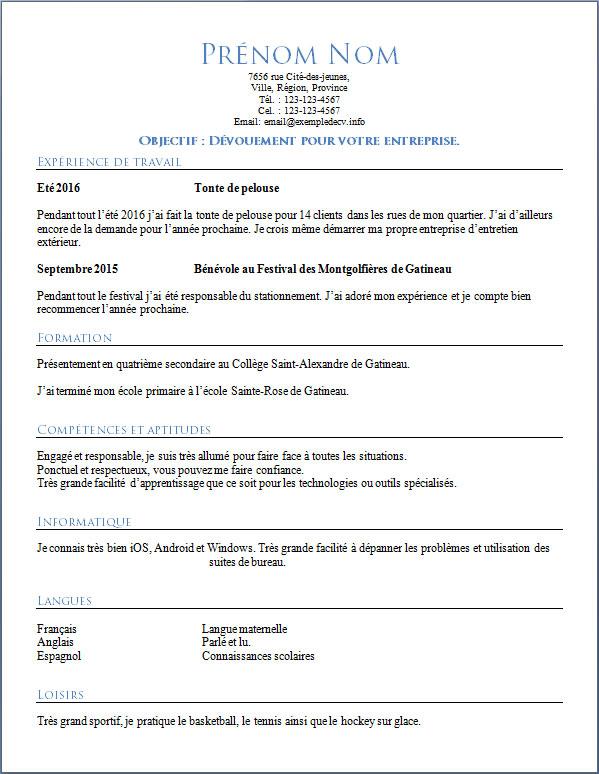 Exemple De Curriculum Vitae Pour Une Etudiante Ou Un Etudiant De 16 Ans Exemple De Cv Info