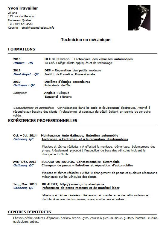 Cv D Un Mecanicien Automobile Technicien En Mecanique Exemple De Cv Info