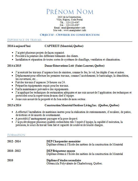 Exemple De Cv Ouvrier De Construction Exemple De Cv Info