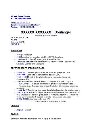 Exemple De Cv Boulanger Modele De Cv Boulanger Exemples De Cv