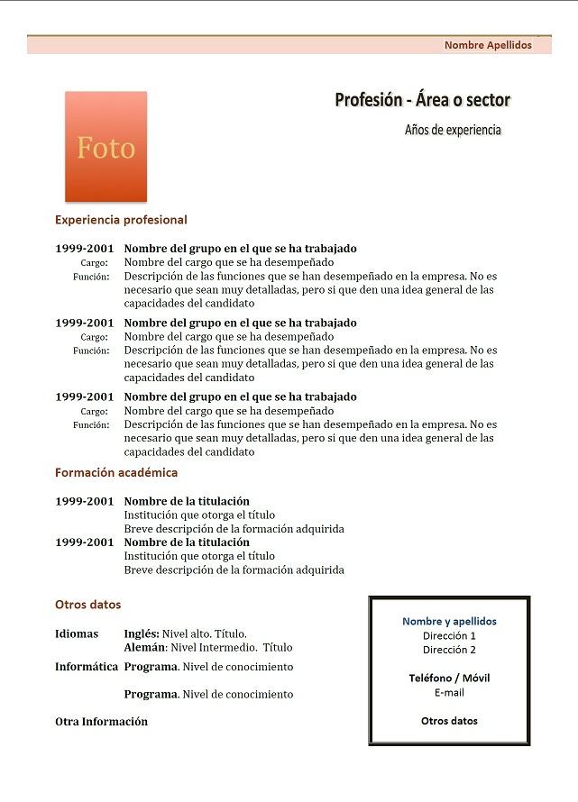 Exemple De CV Crnologico En Espagnol 1 Marron