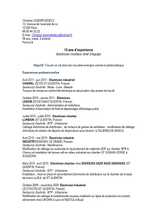 Exemple De Cv Electricien Experimente Modele De Cv Exemples De Cv