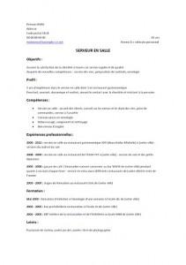 Exemple De Cv Serveur Serveuse Modele De Cv Serveur Serveuse Exemples De Cv