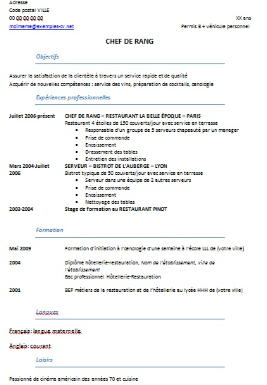 Exemple De CV Htellerie Restauration Exemples De CV