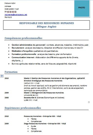 Exemple De Cv Ressources Humaines Rh Modeles De Cv Exemples De Cv
