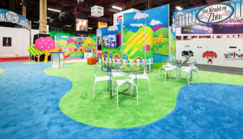 ELITeXPO teamed up with Classic Rental Solutions to design Cepia LLC's tradeshow booth in June 2014, tasked to produce a 30 x 60 exhibit that highlighted vibrant and playful brands in a unique way