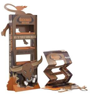 BuckinHot BBQ Sauce: Bookshelf Display w/Base for Extra Stability + Die-Cut Header & Die-Cut Add-On: image showing display before & after deployment