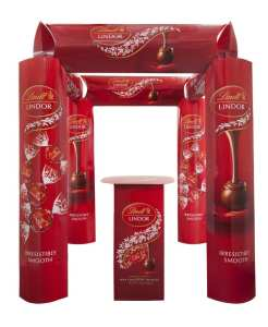 Lindt Lindor: Four–Sided Product Promotion Kiosk w/Table