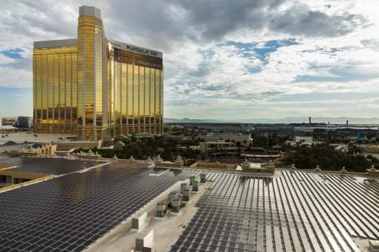 Covering 20 acres, the solar array was installed atop Mandalay Bay Resort & Casino.