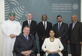 (Back Row Left to Right): Mohammed Waheed Al Lawati - Executive Assistant, Pieter du Plooy - Systems Administrator, Derek Wilson - Audio Visual and Production Manager, Thomas Joseph - Business Development Manager for Exhibitions; and Chanaka Fonseka - Food and Beverage Director.   (Front Row Left to Right): Troy Reynolds - Head of Event Operations and Sheikha Al Mugheiry - International Business Development Manager.