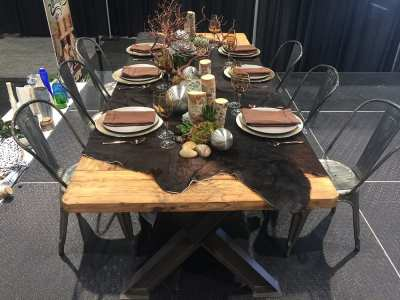 A rustic chic look was accomplished with natural wood.