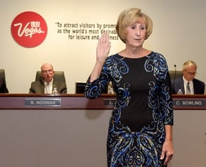 Susan Brager is sworn in at the LVCVA board meeting on Sept. 9. Photo Credit: Mark Damon/Las Vegas News Bureau