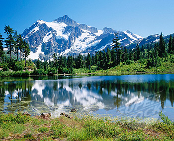 Mt. Shuksan from Picture Lake. Mt. Baker-Snoqualmie National Forest. Whatcom county. Washington. USA.