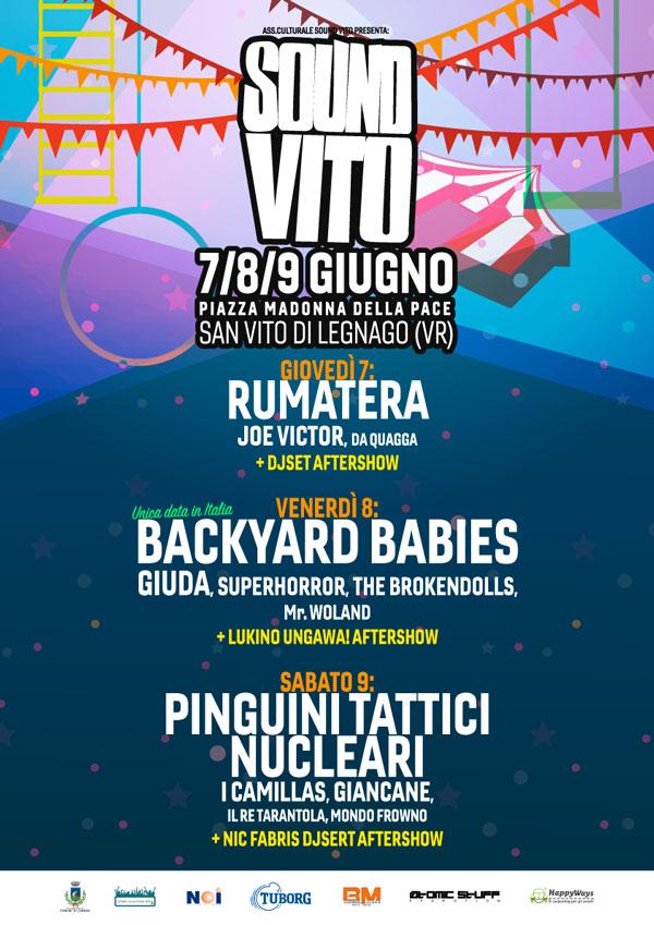 Sound Vito Festival 2018: 7, 8, 9 giugno. Tre giorni di musica e divertimento. Backyard Babies headliner della seconda serata