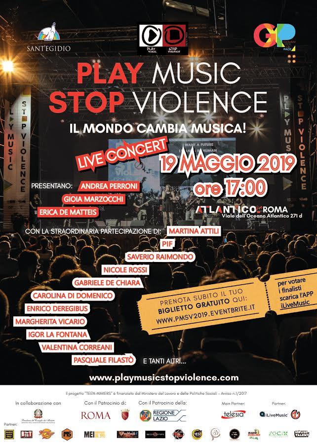"""All'Atlantico Live di Roma la finalissima del contest  musicale per giovani musicisti """"Play Music Stop Violence"""""""